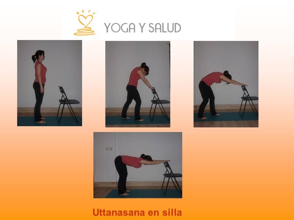 Practica yoga en la oficina o en casa.Estiramiento de la columna